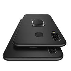 Custodia Silicone Ultra Sottile Morbida con Magnetico Anello Supporto per Samsung Galaxy A9 Star SM-G8850 Nero