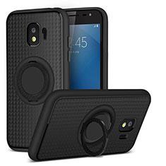 Custodia Silicone Ultra Sottile Morbida con Magnetico Anello Supporto per Samsung Galaxy J2 Pro (2018) J250F Nero