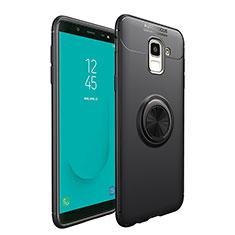 Custodia Silicone Ultra Sottile Morbida con Magnetico Anello Supporto per Samsung Galaxy On6 (2018) J600F J600G Nero
