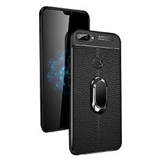 Custodia Silicone Ultra Sottile Morbida con Magnetico Anello Supporto per Xiaomi Mi 8 Lite Nero