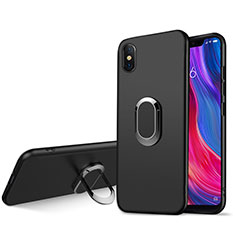 Custodia Silicone Ultra Sottile Morbida con Magnetico Anello Supporto per Xiaomi Mi 8 Screen Fingerprint Edition Nero