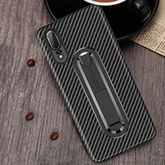 Custodia Silicone Ultra Sottile Morbida Cover con Anello Supporto A01 per Huawei P20 Nero
