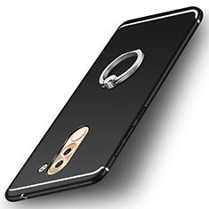 Custodia Silicone Ultra Sottile Morbida Cover con Anello Supporto per Huawei Honor 6X Nero