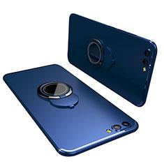 Custodia Silicone Ultra Sottile Morbida Cover con Anello Supporto per Huawei Honor View 10 Blu