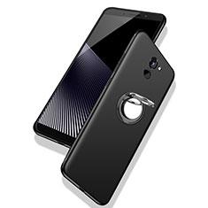 Custodia Silicone Ultra Sottile Morbida Cover con Anello Supporto per Huawei Y7 Prime Nero