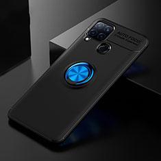 Custodia Silicone Ultra Sottile Morbida Cover con Anello Supporto per Realme C15 Blu e Nero