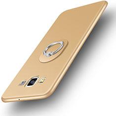 Custodia Silicone Ultra Sottile Morbida Cover con Anello Supporto per Samsung Galaxy A3 SM-300F Oro