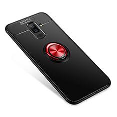 Custodia Silicone Ultra Sottile Morbida Cover con Anello Supporto per Samsung Galaxy A6 Plus Rosso e Nero