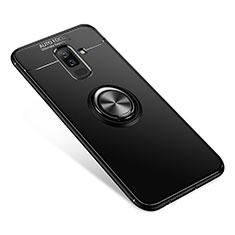 Custodia Silicone Ultra Sottile Morbida Cover con Anello Supporto per Samsung Galaxy A9 Star Lite Nero