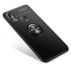 Custodia Silicone Ultra Sottile Morbida Cover con Anello Supporto per Xiaomi Mi 6X Nero