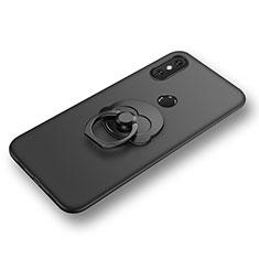 Custodia Silicone Ultra Sottile Morbida Cover con Anello Supporto per Xiaomi Mi 8 Nero