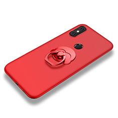 Custodia Silicone Ultra Sottile Morbida Cover con Anello Supporto per Xiaomi Mi 8 SE Rosso