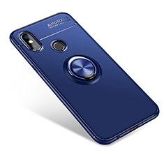 Custodia Silicone Ultra Sottile Morbida Cover con Anello Supporto per Xiaomi Mi A2 Blu