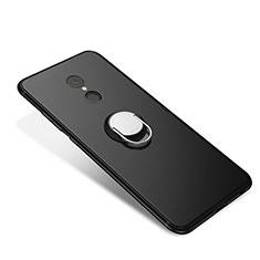Custodia Silicone Ultra Sottile Morbida Cover con Anello Supporto per Xiaomi Redmi 5 Nero
