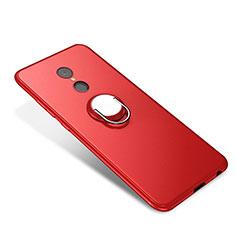 Custodia Silicone Ultra Sottile Morbida Cover con Anello Supporto per Xiaomi Redmi 5 Rosso