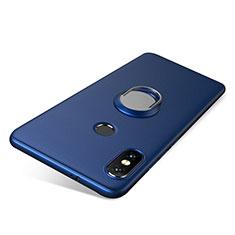 Custodia Silicone Ultra Sottile Morbida Cover con Anello Supporto per Xiaomi Redmi Note 5 AI Dual Camera Blu