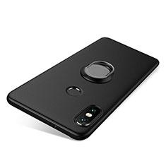 Custodia Silicone Ultra Sottile Morbida Cover con Anello Supporto per Xiaomi Redmi Note 5 AI Dual Camera Nero