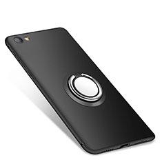 Custodia Silicone Ultra Sottile Morbida Cover con Anello Supporto per Xiaomi Redmi Note 5A Standard Edition Nero