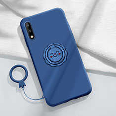 Custodia Silicone Ultra Sottile Morbida Cover con Magnetico Anello Supporto A01 per Huawei Enjoy 10 Blu