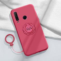 Custodia Silicone Ultra Sottile Morbida Cover con Magnetico Anello Supporto A01 per Huawei Enjoy 10 Plus Rosso