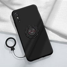 Custodia Silicone Ultra Sottile Morbida Cover con Magnetico Anello Supporto A01 per Huawei Enjoy 10e Nero