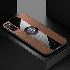 Custodia Silicone Ultra Sottile Morbida Cover con Magnetico Anello Supporto A01 per Huawei Enjoy 20 Pro 5G Marrone