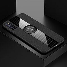 Custodia Silicone Ultra Sottile Morbida Cover con Magnetico Anello Supporto A01 per Huawei Enjoy 20 Pro 5G Nero