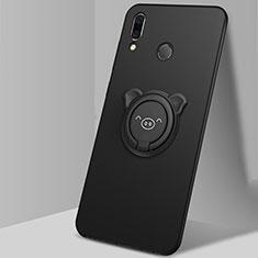 Custodia Silicone Ultra Sottile Morbida Cover con Magnetico Anello Supporto A01 per Huawei Honor 10 Lite Nero