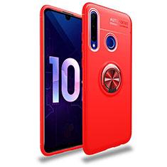 Custodia Silicone Ultra Sottile Morbida Cover con Magnetico Anello Supporto A01 per Huawei Honor 20 Lite Rosso