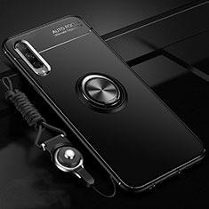 Custodia Silicone Ultra Sottile Morbida Cover con Magnetico Anello Supporto A01 per Huawei Honor 9X Pro Nero