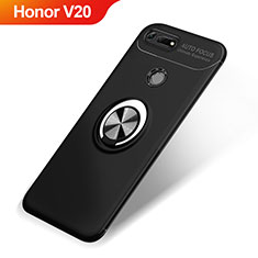 Custodia Silicone Ultra Sottile Morbida Cover con Magnetico Anello Supporto A01 per Huawei Honor V20 Nero
