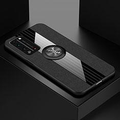 Custodia Silicone Ultra Sottile Morbida Cover con Magnetico Anello Supporto A01 per Huawei Honor X10 5G Nero