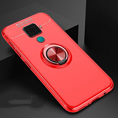 Custodia Silicone Ultra Sottile Morbida Cover con Magnetico Anello Supporto A01 per Huawei Mate 30 Lite Rosso