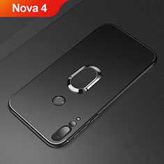Custodia Silicone Ultra Sottile Morbida Cover con Magnetico Anello Supporto A01 per Huawei Nova 4 Nero