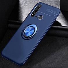 Custodia Silicone Ultra Sottile Morbida Cover con Magnetico Anello Supporto A01 per Huawei Nova 5i Blu