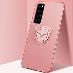 Custodia Silicone Ultra Sottile Morbida Cover con Magnetico Anello Supporto A01 per Huawei Nova 7 5G Oro Rosa