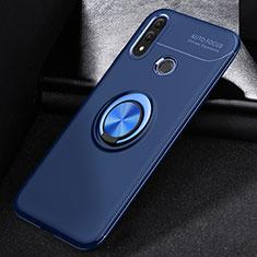 Custodia Silicone Ultra Sottile Morbida Cover con Magnetico Anello Supporto A01 per Huawei P Smart (2019) Blu