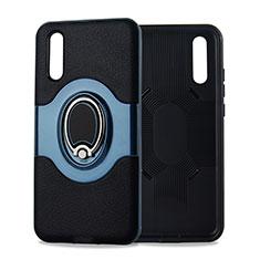Custodia Silicone Ultra Sottile Morbida Cover con Magnetico Anello Supporto A01 per Huawei P20 Ciano