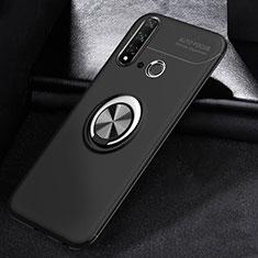 Custodia Silicone Ultra Sottile Morbida Cover con Magnetico Anello Supporto A01 per Huawei P20 Lite (2019) Nero