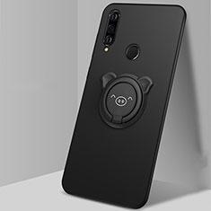 Custodia Silicone Ultra Sottile Morbida Cover con Magnetico Anello Supporto A01 per Huawei P30 Lite Nero