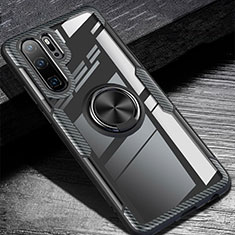 Custodia Silicone Ultra Sottile Morbida Cover con Magnetico Anello Supporto A01 per Huawei P30 Pro Nero