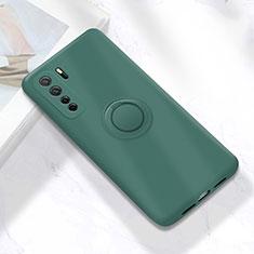 Custodia Silicone Ultra Sottile Morbida Cover con Magnetico Anello Supporto A01 per Huawei P40 Lite 5G Verde