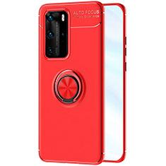 Custodia Silicone Ultra Sottile Morbida Cover con Magnetico Anello Supporto A01 per Huawei P40 Pro Rosso