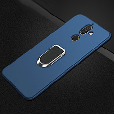 Custodia Silicone Ultra Sottile Morbida Cover con Magnetico Anello Supporto A01 per Nokia 7 Plus Blu