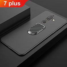 Custodia Silicone Ultra Sottile Morbida Cover con Magnetico Anello Supporto A01 per Nokia 7 Plus Nero