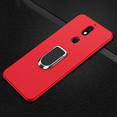 Custodia Silicone Ultra Sottile Morbida Cover con Magnetico Anello Supporto A01 per Nokia 7 Plus Rosso
