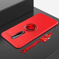 Custodia Silicone Ultra Sottile Morbida Cover con Magnetico Anello Supporto A01 per OnePlus 8 Rosso