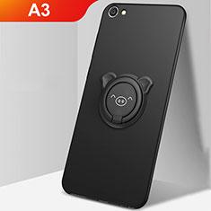 Custodia Silicone Ultra Sottile Morbida Cover con Magnetico Anello Supporto A01 per Oppo A3 Nero