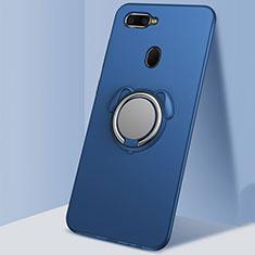 Custodia Silicone Ultra Sottile Morbida Cover con Magnetico Anello Supporto A01 per Oppo A7 Blu