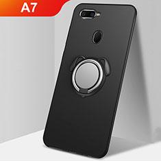 Custodia Silicone Ultra Sottile Morbida Cover con Magnetico Anello Supporto A01 per Oppo A7 Nero